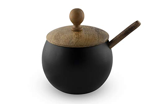 GoCraft Sugar Bowl with Wooden Lid and Spoon for Home and Kitchen, Drum Shape (Matte Black Finish)