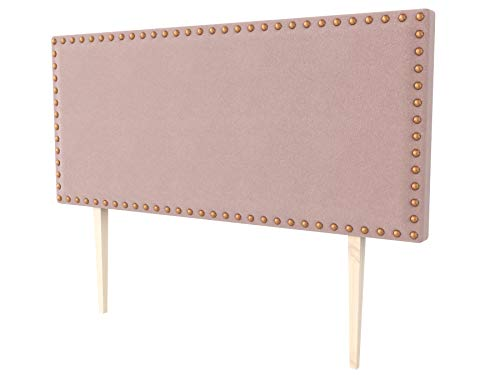 LA WEB DEL COLCHON - Cabecero tapizado Tachuelas Big para Cama de 200 (210 x 115 cms) Rosa Palo Textil Suave | Cama Juvenil | Cama Matrimonio | Cabezal Cama |