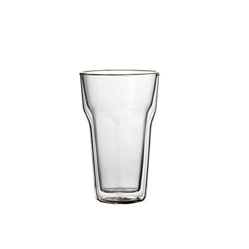 8.5OZ / 250ml Double Wall Glass Heat Resistant Coffee Mug Tea Cup Six-Edged Coffee Cups Set of 2pcs