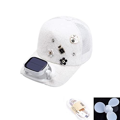 XZQ Sombrero de Ventilador Solar, Sombrero de Sol USB portátil, Gorra de béisbol de Sombrero, Utilizado para Deportes al Aire Libre para Interiores Dating Regalo de Citas (Color : White)