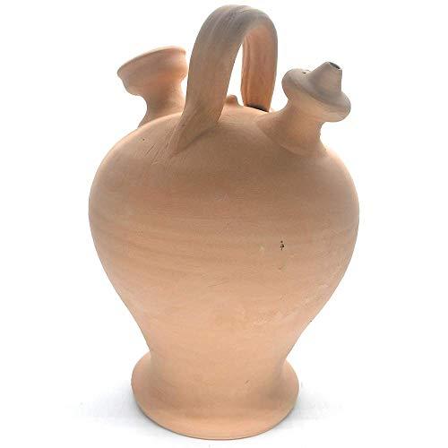 Botijo de barro natural hecho a mano 25 x 15 cm 1,5 l