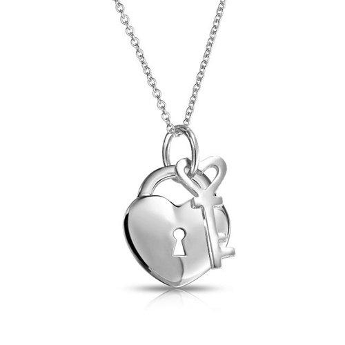 Liebe Schloss Und Schlüssel Herz 2 Charm Anhänger Für Damen Aus Poliertem 925 Sterling Silber Kette Mit Anhänger 16 In