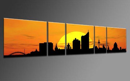 TOP Bild auf Leinwand CITY PANORAMA STIL LEIPZIG SUN GELB 5 TEILE DIGITAL Arts AP500167 Bilder fertig bespannt auf Keilrahmen. Kunstwerk als Wandbild auf Rahmen.Wohnzimmer, BÜRO GÜNSTIGER ALS Ölbild Gemälde Poster Plakat mit Bilderrahmen! MADE IN GERMANY