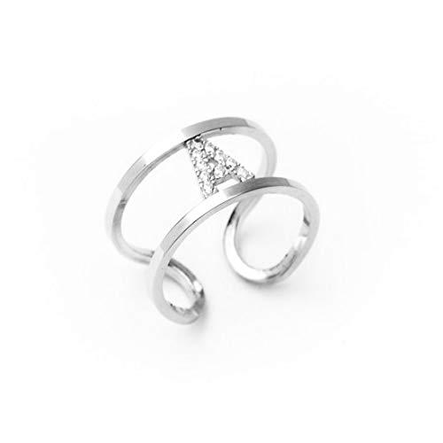 Remo Gammella - Anillo de plata 925 % con letra de banda con circonitas blancas de corte diamante. Tamaño ajustable. Todas las letras disponibles