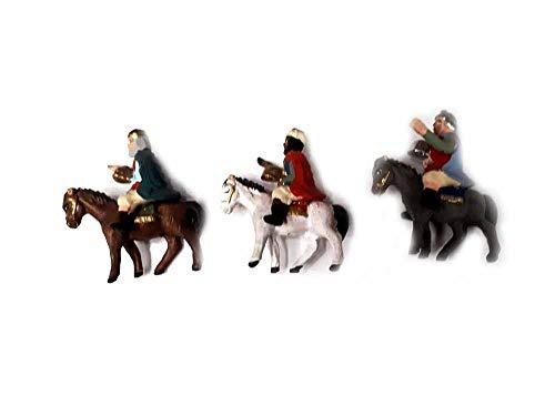 Genérico recibe 3 reyes magia de caballo en terracota para pastores 3-4 cm D para Belén San Gregorio Armenio Artesanales Tor