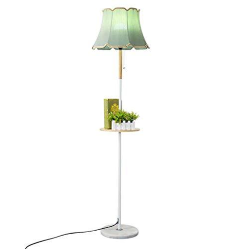 Lampes de chevet Lampadaire avec Table Basse Lampadaire Tissu Lampadaire en Bois Marbre Salon Chambre Simple Lampadaire De Mode (Color : Green, Size : 38 * 165cm)