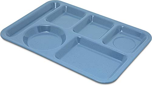 """Carlisle 4398192 Left-Hand Heavy Weight 6-Compartment Cafeteria / Fast Food Tray, 10"""" x 14"""", Sandshade (Pack of 12) (Renewed)"""