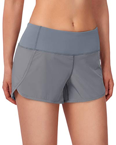 G Gradual Women's Running Shorts with Mesh Liner 3' Workout Athletic Shorts for Women with Phone Pockets (Light Grey, Large)