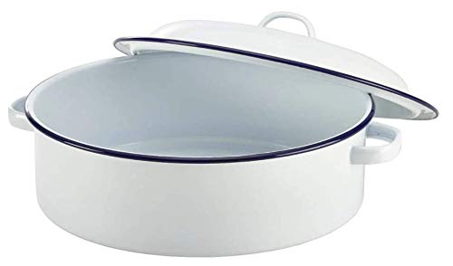 Choice Masters Enamel Roaster Pan with Lid 29cm - Single Traditional Round Rustic Casserole Dish- White with Blue Rim - Oven, Freezer, Dishwasher and Food Safe