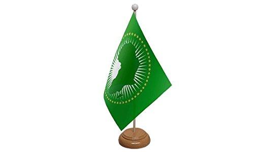 1000 Flags Drapeau de Bureau avec Base en Bois de l'Union Africaine.
