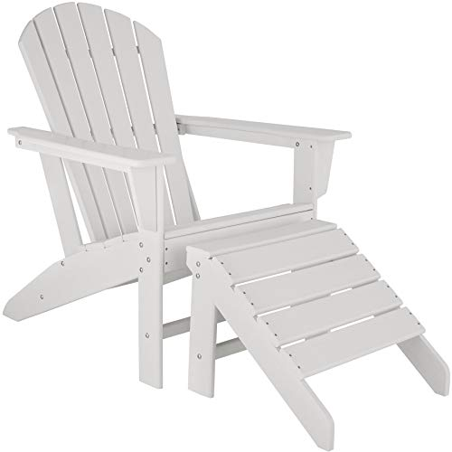 TecTake 800818 Silla de jardín con reposapiés, Conjunto de Muebles de Exterior Estilo Adirondack, Set de Tumbona y escabel para terraza, Asiento para balcón más tarima para pies (Blanco)