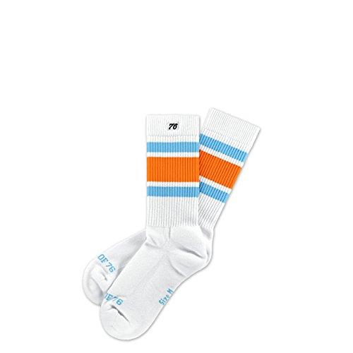 Spirit of 76 Endless Summer Lo | Halbhohe Retro Socken mit Streifen Weiß, Orange & Türkis gestreift | stylische Unisex Kniestrümpfe Größe M (39-42)