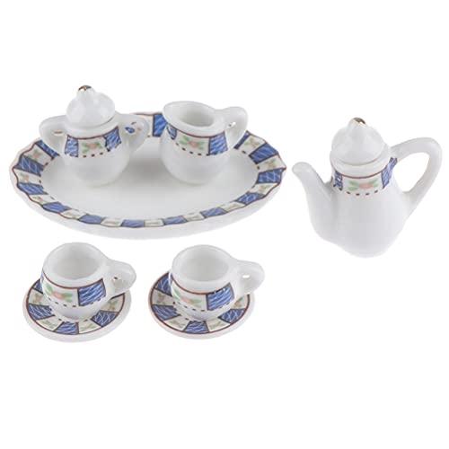 8 piezas 1:12 casa de muñecas miniatura de porcelana taza de té Set tetera comedor adornos miniatura Vajilla accesorios casa de muñecas cocina juguete