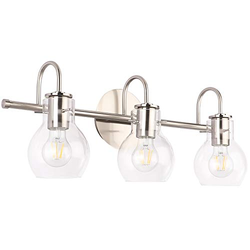 SOLFART Brushed Nickel Bathroom Lighting Fixtures Over Mirror Modern Glass Shade Vanity Lights Wall Sconce(3 Lights)