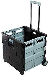 Staples 30 Qt. Black Durable Expanding Folding Crate on Wheels