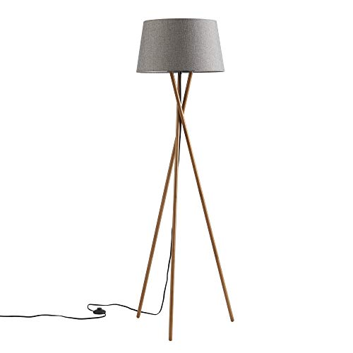 Ambiore Wood Tripod Floor Lamp Maud – Modern Elegant Indoor Standing Light with Complimentary Bulb Mid-Century Living Room and Bedroom – Solid Wood Walnut Stand with Linen Fabric Shade- Grey Charcoal