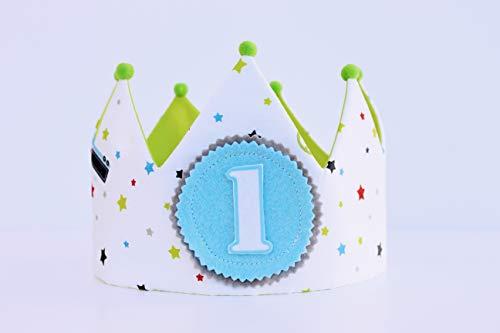 Corona cumpleaños niños, adorno para fotografías, corona de tela coches para cumpleaños...
