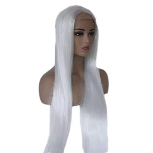 GCX Encanto Peluca Peluca Delantera de Encaje Peluca Blanca Recta de Pelo Largo y Liso Peluca Blanca de Encaje Delantera Peluca Naturalmente Realista Encantador (Size : 26inches)