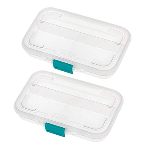 Tribello Divided Pencil Case Box, School Supplies Organizer, 8' x 5' x 1.5' Made in USA - Clear - Set Of 2