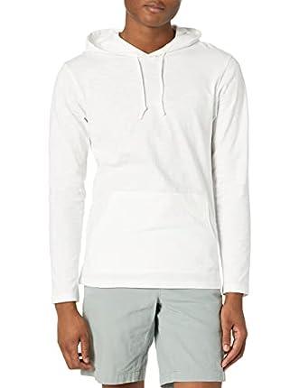 Marca Amazon - Goodthreads – Sudadera con capucha, ligera para hombre, Blanco (bright white), X-Small