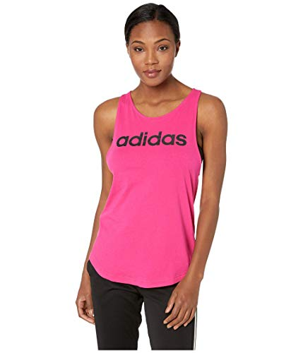 adidas Women's Essentials Linear Loose Tank Top, Real Magenta/Black, Small