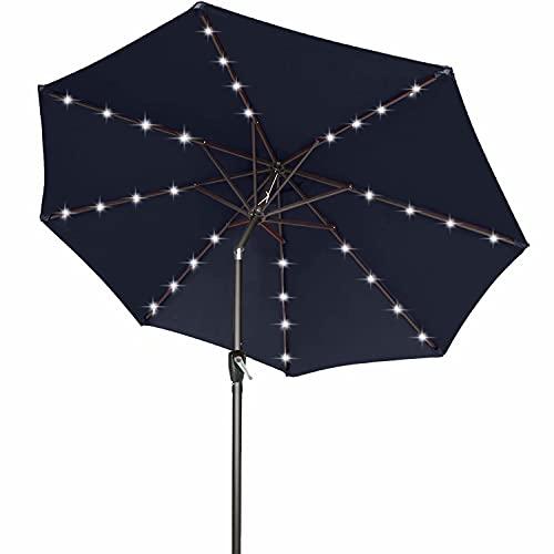 Ourdoor - Ombrello solare da 1,5 m, con luci a 32 LED, inclinabile e manovella, per giardino, terrazza, cortile e piscina, 12 colori + (blu navy)