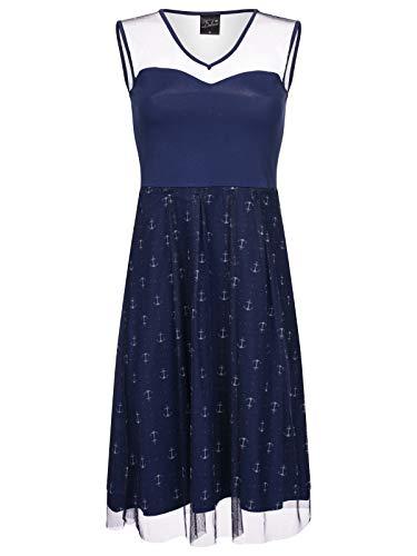 Pussy Deluxe Sweet Anchors Tulle Kleid blau Allover, Größe:XL
