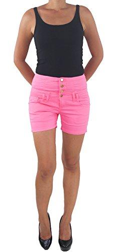 Corsagen Hot Pants Jeans Hochschnitt Shorts Capri Hotpants Kurze Hose 5181 36 Pink