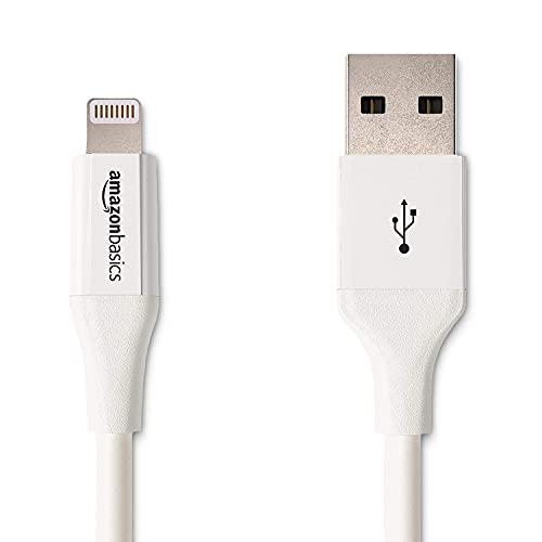 Amazon Basics - Cable de conector Lightning a USB A para iPhone y iPad - 0,9 m - 1 unidad, Blanco