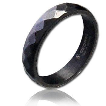 ダイヤ カット ブラック 黒 スリム ステンレス リング 指輪 メンズ スタイル 13号