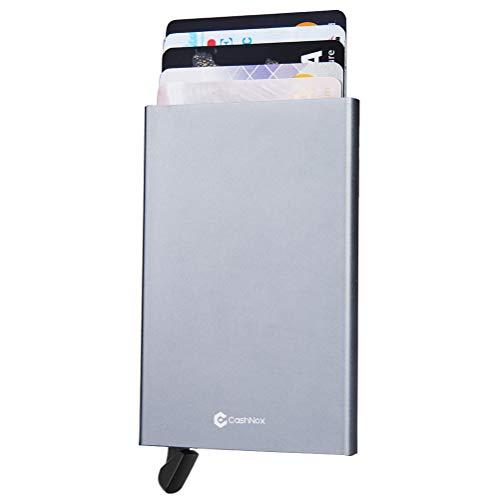 CashNox Tarjetero de Hombre Bloqueo RFID con Caja Regalo – Pequeña Cartera Tarjetero Hombre de Aluminio – Cartera Tarjetero de Hombre y Protector de Tarjetas Contactless para 1-10 Tarjetas