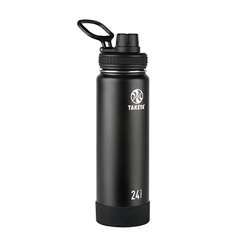 Takeya Actives Insulated Stainless Steel Water Bottle with Spout Lid, 24 oz, Onyx