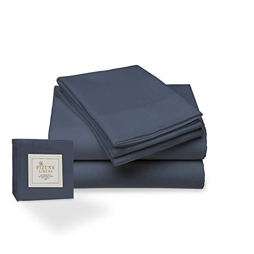 Juego de sábana de 400 conteo de hilos, 4 piezas de 100% algodón de fibra larga, lujoso suave saten conjunto de hojas 1 sábana adjustable 1 sábana plana 2 fundas de almohada (Azul oscuro - Cama 135cm)
