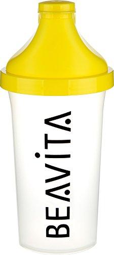 BEAVITA Slim Shaker - 500 ml beverino - Per bevande proteiche o miste isotoniche - Bottiglia con chiusura a cerniera - Lavabile in lavastoviglie e perfetto per andare in palestra o in palestra