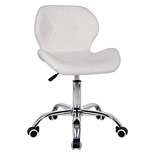 Outwin Office Swivel Chair PU Leather Desk Chair with Castor Wheels and Adjustable Height (White)