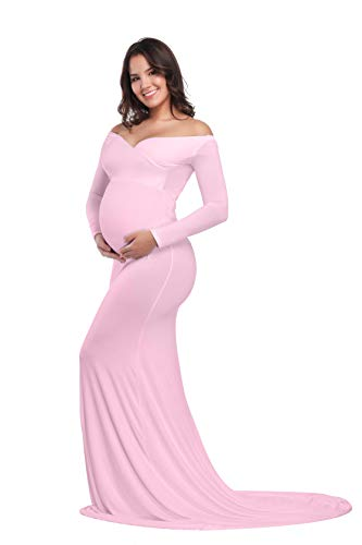 JustVH Maternity Elegant Fitted Maternity Gown Long Sleeve Cross-Front V Neck Slim Fit Maxi Photography Dress for Photoshoot Pink