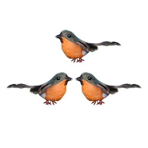 ABOOFAN 3pcs Robin Bird Figures Artificial Feather Robin Birds Mini Cute Birds Figurine Christmas Tree Ornaments Fairy Garden Decor