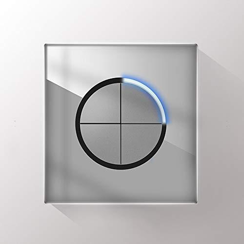 Foicags Moderno estilo Rocker Lighter Switch 86 Tipo Panel de vidrio Interruptores de luz eléctrica 1/2/3/4 Panel de interruptores de la forma 1/2 de la pandilla con la luz de la atmósfera LED