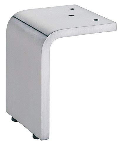 Design Möbelfuß Edelstahl-Optik Tischfuß Schrankfuß aus Metall - H2048   Höhe 120 mm   Kommoden-Fuß ohne Höheneinstellung   Materialstärke 10 mm   1 Stück - Sofa-Fuß für schwere Möbel & Betten