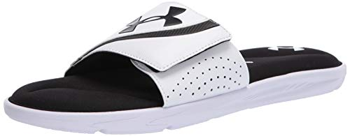 Under Armour Men's Ignite VI SL Slide Sandal, White (100)/Black, 10 M US