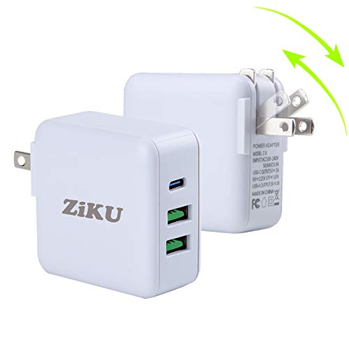 [2 Pack] 40 Watt USB C Charger. ZIKU MINI 3-Port Foldable Compact iPhone Fast Charger Desktop USB Charging Station For iPhone12 Mini Pro Max/11/11 Pro Max, iPad Nintendo Switch. Galaxy Tablet and More