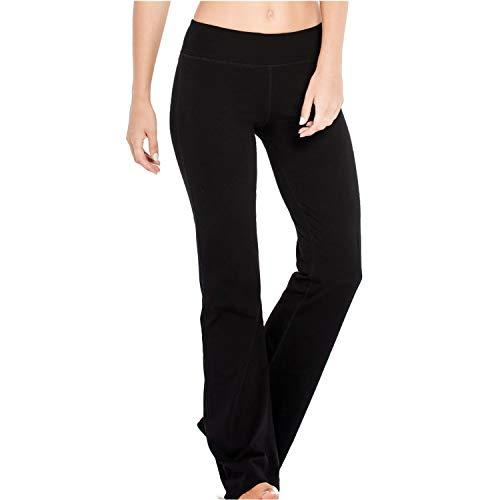 Houmous S-XXXL 29''31''33''35'' Inseam Women's Cotton Bootcut PantsInner Pocket(Petite-29 Inseam-Black, Medium)