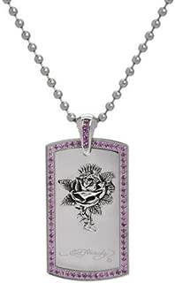 Ed Hardy Stainless Steel Rhinestone Rose Pendant Necklace Dog Tag
