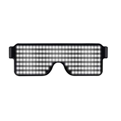 Teekit 1 Stück LED-Gläser leuchten blinkende Sonnenbrillen Eyewear Nightclub Party 8 Muster,Weiß