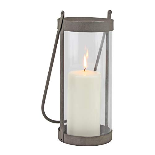 Stonebriar Industrial Glass Cylinder Hurricane Candle Lantern with Rustic Zinc Metal Frame and Handle, Gray