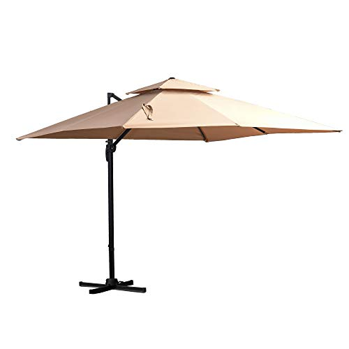 Outsunny Sombrilla de Jardín 300x300 cm Parasol Rectangular con Manivela Poste Giratorio 360° Doble Techo Inclinable en 6 Posiciones Base Cruzada Incluida Caqui