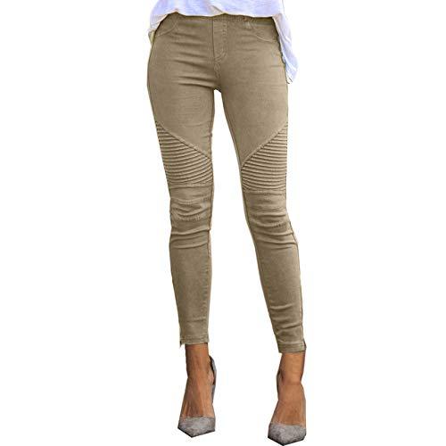 Leggins Nobrand 2020 para mujer con estampado de rayas azules, para mujer, de imitación Jean Slim Fitness Legging elástico sin costuras, sin costuras Verde caqui S