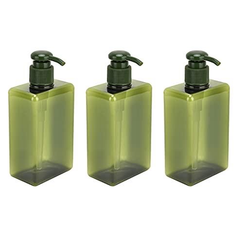 Fdit Dispensador de Botellas de Bomba de 3 Piezas, Botella de Bomba, dispensador de loción de jabón de Manos, loción vacía, champú, contenedor de jabón líquido, Botella de Prensa Verde 280 ml