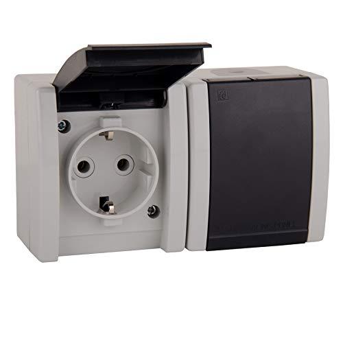 ALING-CONEL | 2-fach Steckdose mit Klappdeckel für Feuchtraum | Aufputz Schutzkontakt - Grau | 16A/250V~ / IP44 | Serie: Power Line | Art.-Nr. PL004-2412.1A