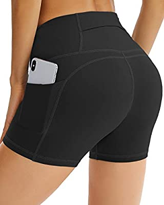 Reshe High Waist Yoga Shorts for Women with 3 Pockets, Tummy Control Workout Biker Shorts with Elastic Waistband, Running Shorts for Athletic Training